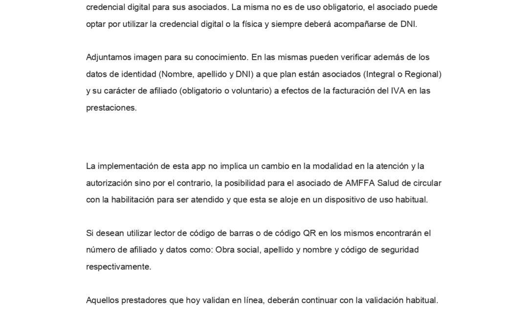 AMFFA: Credencial digital